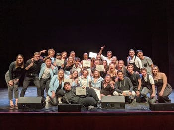 Two co-ed UNC a cappella groups, The Tarpeggios and Tar Heel Voices, placed first and second, respectively, at the International Championship of Collegiate A Cappella South Region quarterfinals on Feb. 1. Photo courtesy of Lauren Gornto.