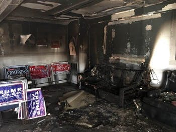 A GOP office was firebombed in Hillsborough. Photo courtesy of North Carolina GOP.