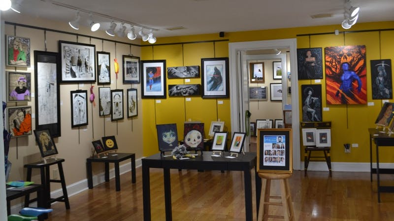 The art exhibited at the Margret Lane Gallery during a previous Last Friday's Art Walk. Photo courtesy Mary Knox.