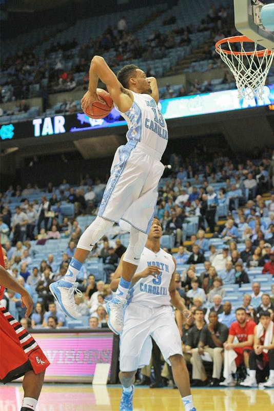North Carolina junior forward J.P. Tokoto goes up for a dunk during a game versus Belmont Abbey on Nov. 7.