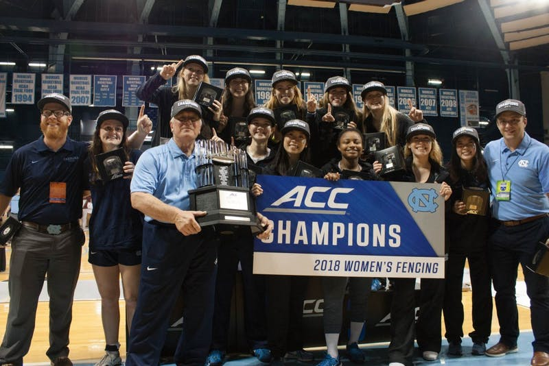 The North Carolina women's fencing team won its first ACC team fencing championship in school history on Feb. 24 in Carmichael Arena.