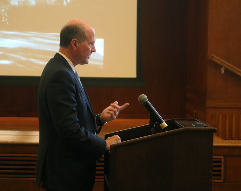 Provost Jim Dean addresses the Board of Trustees regarding the James B. Hunt Institute on Wednesday.