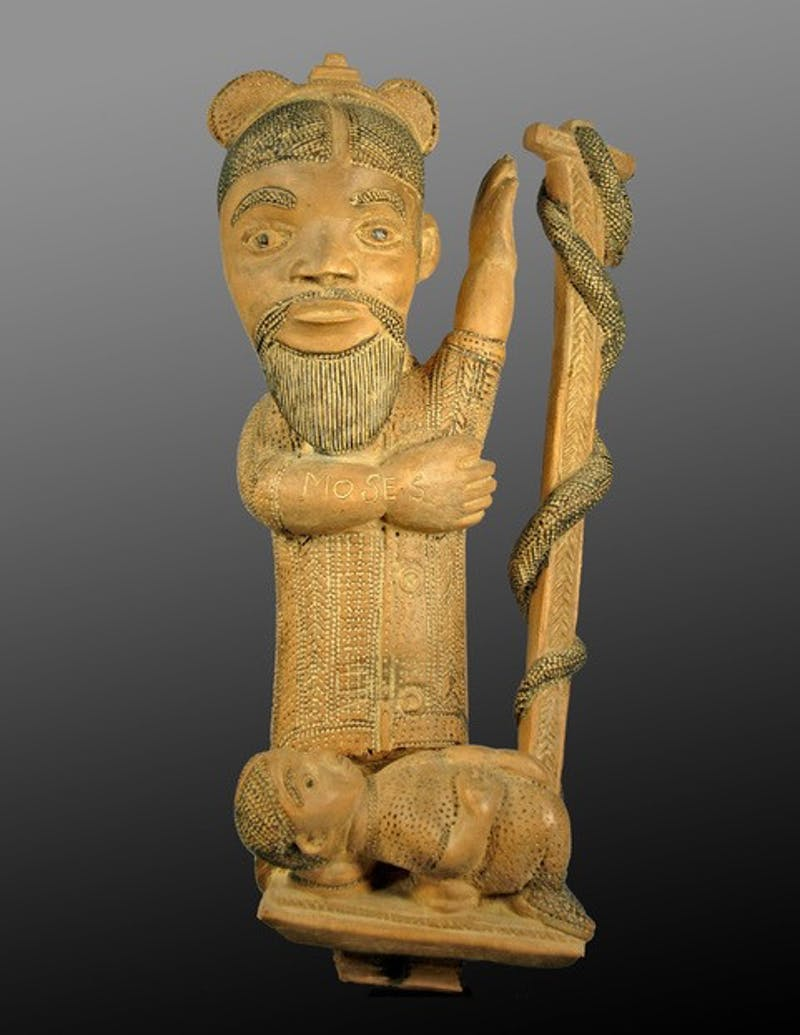 An African sculpture with Moses inscribed on it in English that will be on display in the Ackland Art Museum from Rhonda Wilkerson's collection. Photo courtesy of Rhonda Wilkerson.