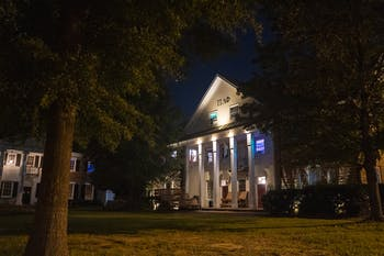 UNC's Pi Lambda Phi fraternity on Little Fraternity Court on Saturday, Aug. 29, 2020. That Saturday night, the fraternity allegedly hosted a party despite Governor Cooper's executive order about indoor gatherings of over 10 people and the CDC guidelines surrounding COVID-19.