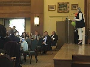 UNC System Body President Margaret Spellings speaks at February's annual Chapel Hill-Carrboro Chamber of Commerce Meeting.