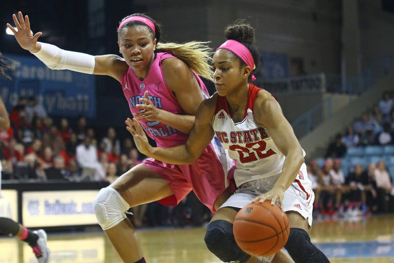 First-year guard Stephanie Watts (5) guards Dominique Wison (22) during the game against N.C. State.