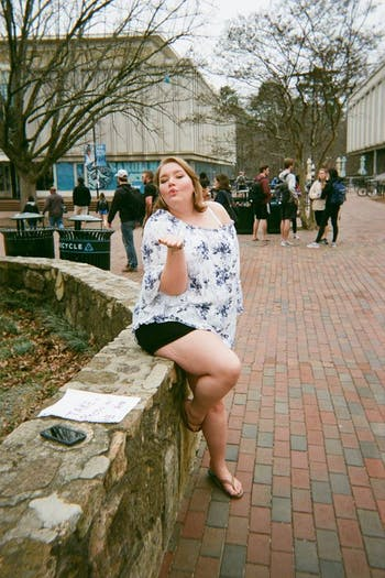 UNC senior Rebecca Daughtry posing for a picture she took with the mystery camera last spring.
