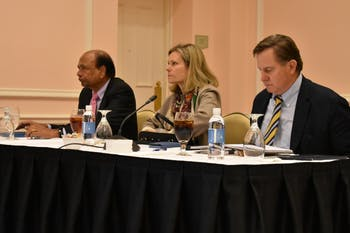 Board of Trustees members (left to right) Hari H.Nath, Kelly Matthews Hopkins and Jefferson W. Brown listen to a presentation during a University Affairs committee meeting in the Carolina Inn on Wednesday, Nov. 14, 2018.