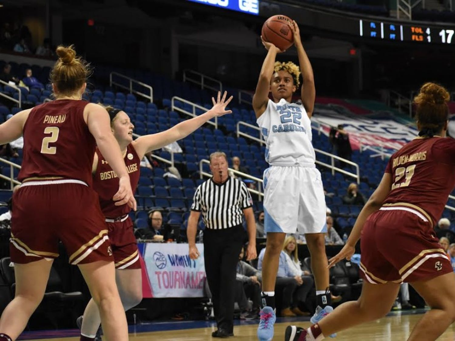 Guard Paris Kea (22) takes a jumper against Boston College in the first round of the 2018 ACC Tournament on Feb. 28 in Greensboro.