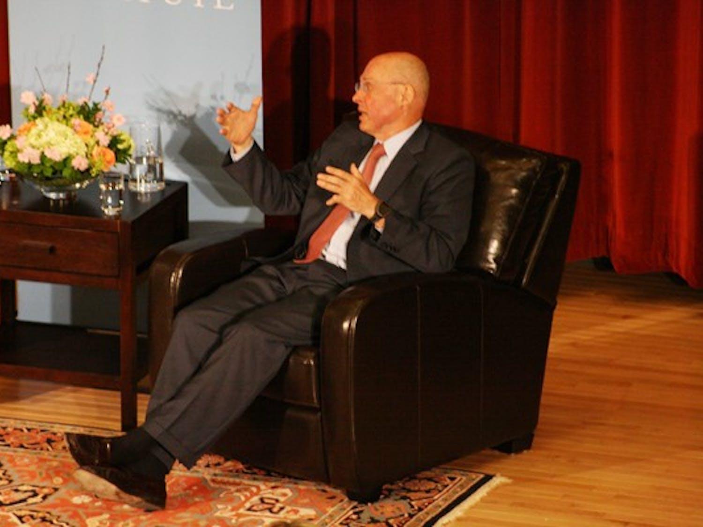 Henry Paulson, former U.S. treasury secretary, spoke Monday night about global economics. DTH/ Duncan Culbreth