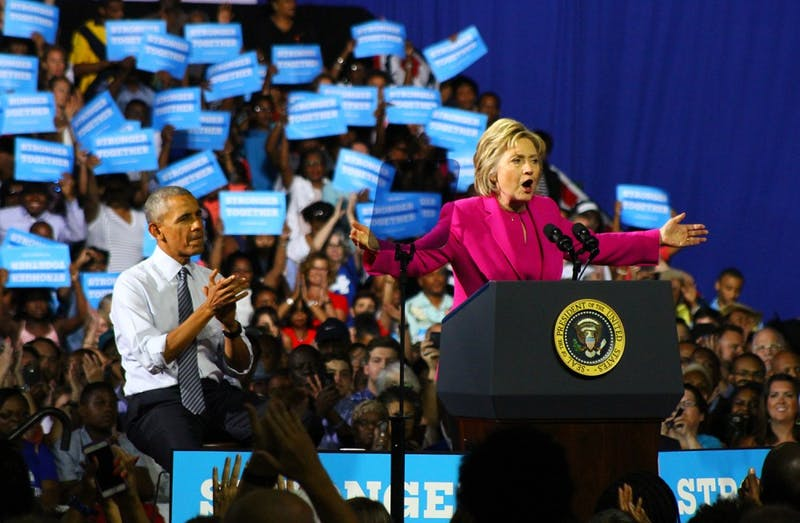 President Barack Obama joined presumptive Democratic presidential nominee Hillary Clinton for a rally at the Charlotte Convention Center on Tuesday.