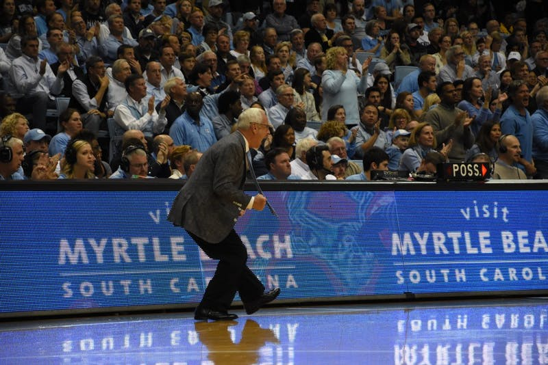 Head coach Roy Williams yells during UNC's game against Bucknell on Nov. 15 in the Smith Center.
