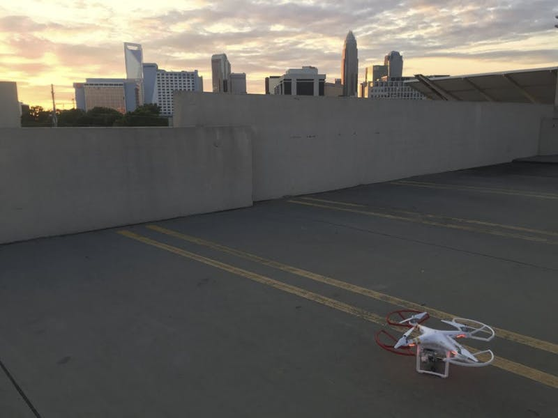 The town of Chapel Hill has no ordinances or laws regarding drone usage. One was flown over Franklin Street and used to record the rush after the men's basketball team won the NCAA title game.