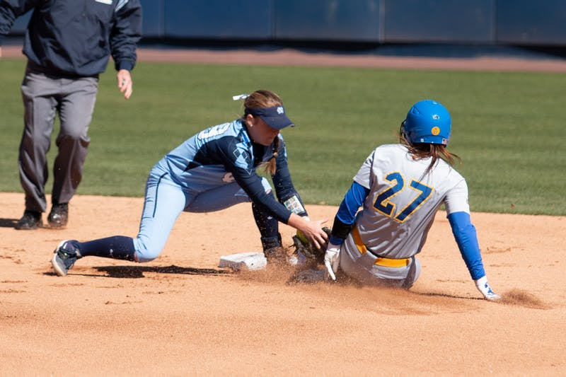 Sophomore infielder Abby Settlemyre (29)  tags a runner out at second base during the game against Pittsburgh at G. Anderson Softball Stadium on March 1, 2020. UNC won 1-9.