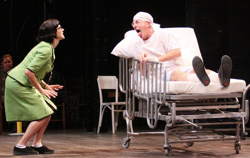 Imaginary Invalid play at Paul Green Theatre at the Center for Dramatic Art.Steven Epp plays ArganMolly Ward plays Toinette