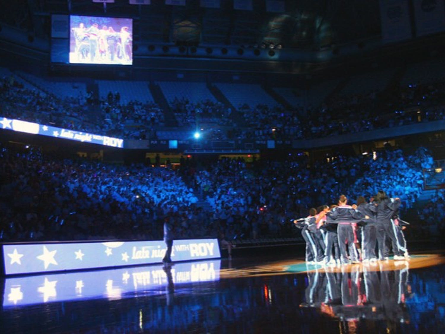 The UNC women's basketball team unveils its pink uniforms after its introduction at Late Night with Roy.
