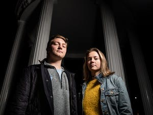 Study Body President candidate for 2019-2020 and junior Jack Noble (left) and his campaign manager and junior Hannah Snow (right) pose at the Old Well Thursday, Feb. 19, 2019, in Chapel Hill, N.C. Noble was disqualified from the Student Body President race on Feb. 10, the night before the SBP election. His campaign was found guilty of five violations, according to a statement by the Board of Elections.