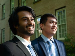 Cofounders of Lux Libertas Ventures, business and computer science major Sanjeev Musuvathy and business major Nathan Ho, pose for a portrait.