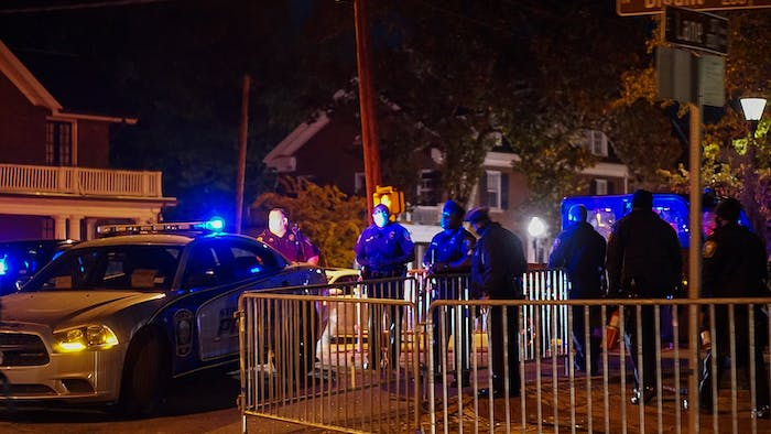 Police line the streets of downtown Raleigh in anticipation of protests on election night on Tuesday, Nov. 3, 2020.