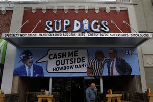 In preparation for Thursday night's men basketball game against Duke, Sup Dogs has put up a new banner.