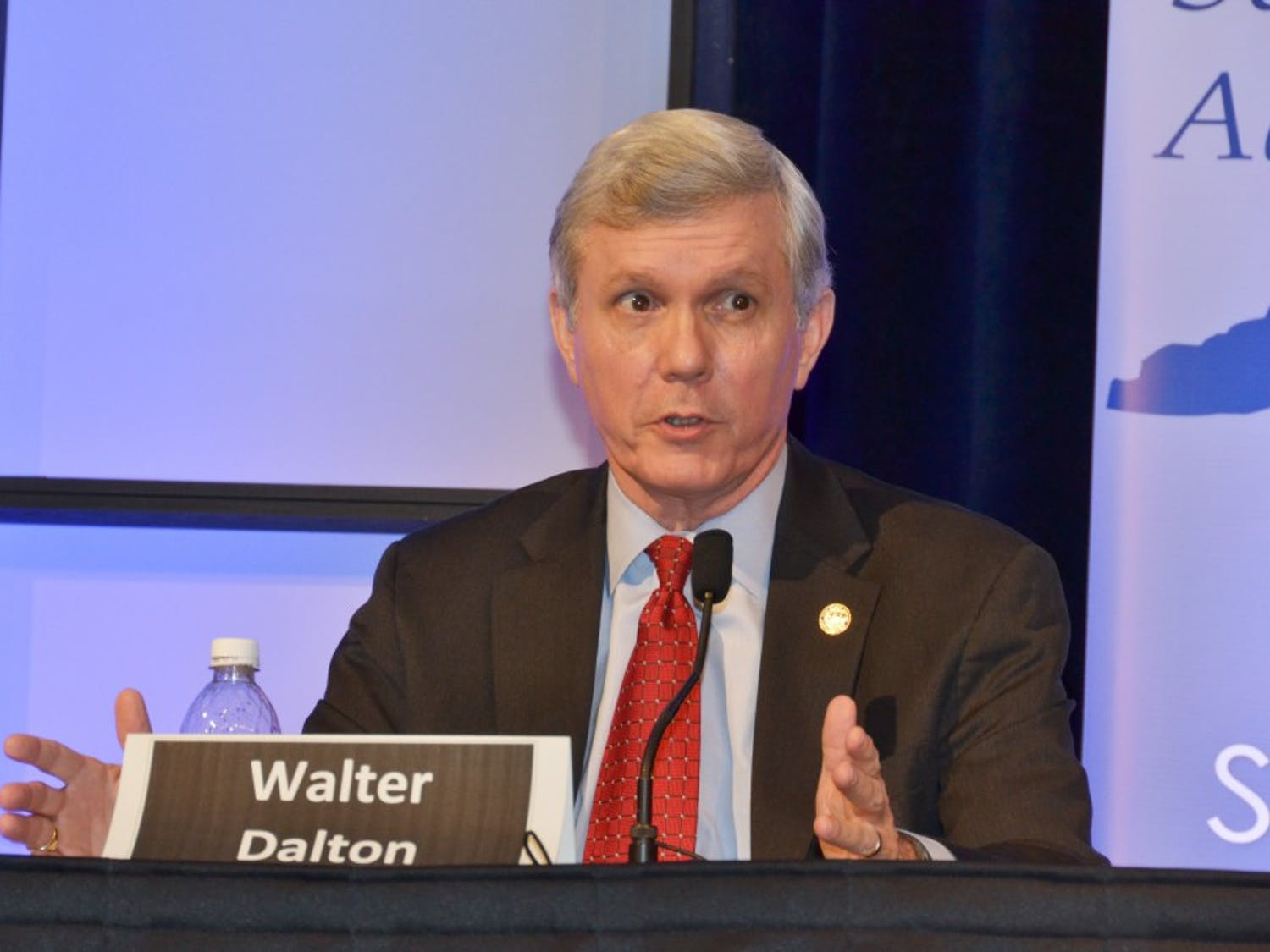 Walter Dalton speaks at the  NC Association of School Administrator's 2012  candidate forum Thursday. Dalton is a democratic candidate for governor.