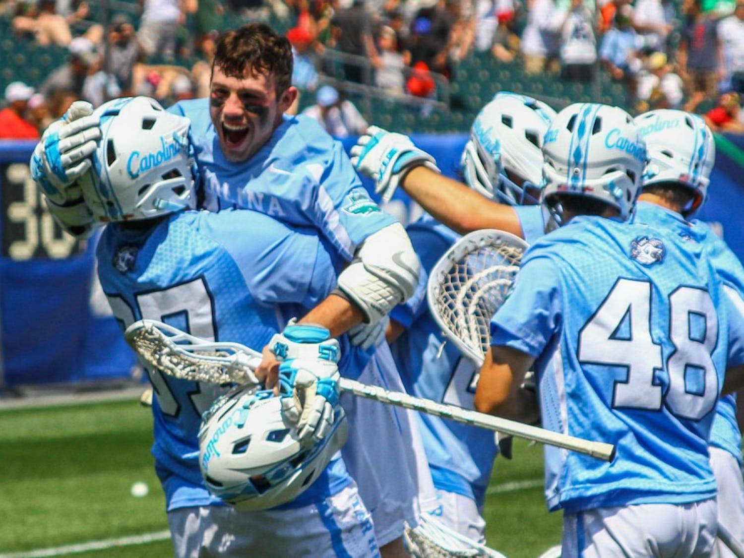 The North Carolina men's lacrosse team defeated Loyola Maryland 18-13 in the NCAA semifinals at Lincoln Financial Field in Philadelphia on Saturday.