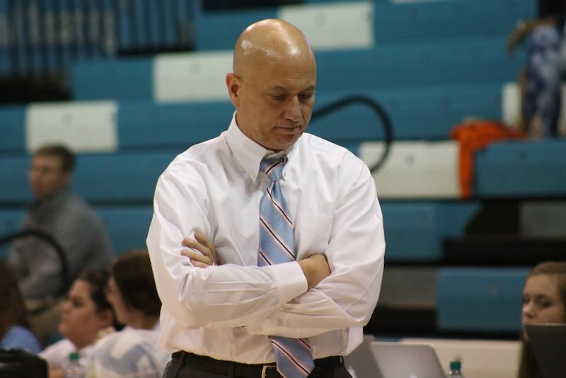 UNC Coach Joe Sagula disappointed with his team's performance against UVA on Sunday October 14th in Carmichael arena.