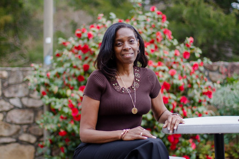 Venus Standard, an assistant clinical professor in the UNC School of Medicine, poses for a portrait outside the William B. Aycock Family Medicine Center at UNC on Wednesday, Mar. 24, 2021. Standard will lead the Black doula training program that recently recieved the UNC C. Felix Harvey Award to Advance Institutional Priorities.