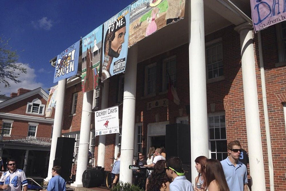 <p>Sigma Chi fraternity's house was decorated with Derby Days banners. Derby Days raised $13,000 for juvenile diabetes research so far. Photo courtesy of Drew Golba.</p>