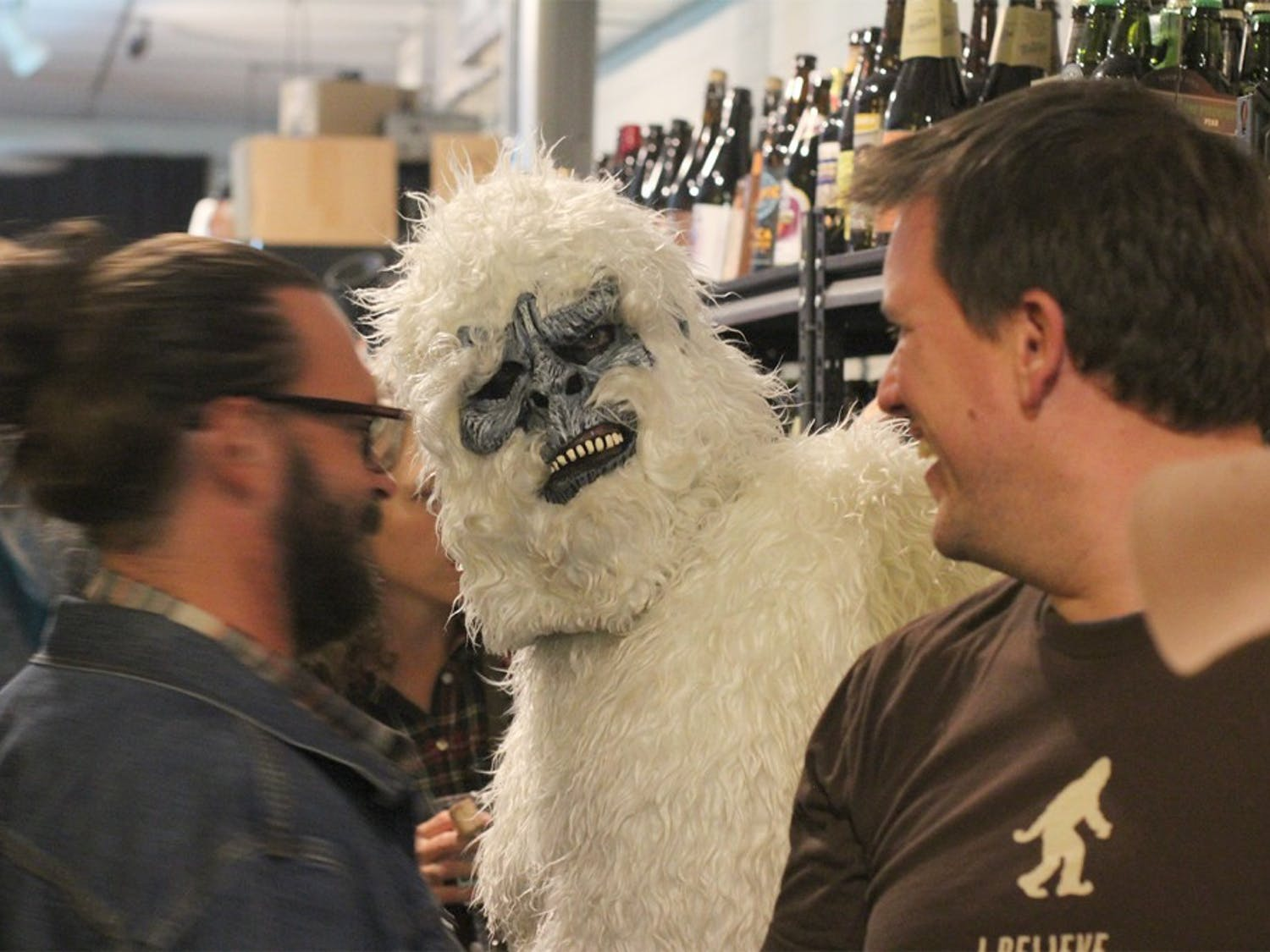 Great Divide Brewing Company mascot the Yeti mingles and guest-bartends at Beer Study as part of the Yeti Bar Crawl in the Chapel Hill-Carrboro area Friday.