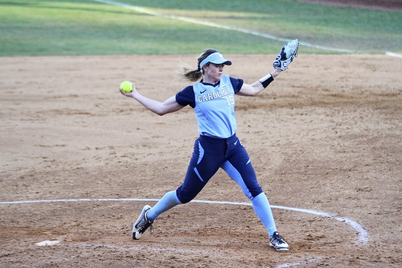 Junior Kendra Lynch (15) pitches the ball in the game against Georgetown February 28.