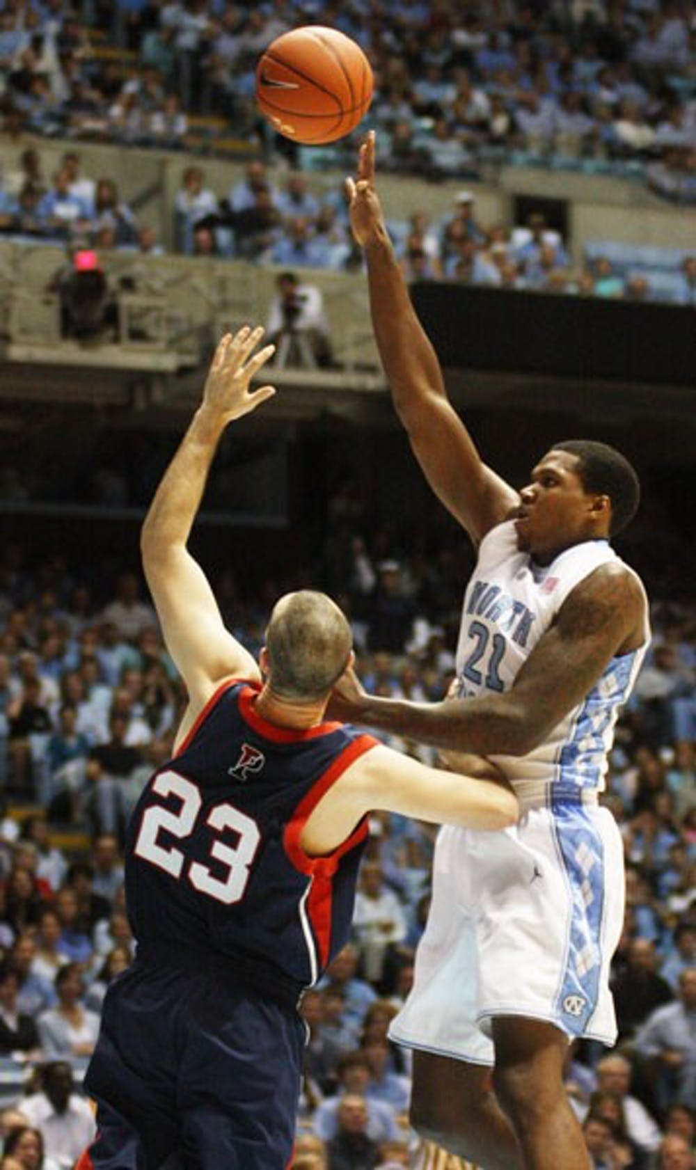 Senior Deon Thompson will help shoulder some of the scoring load left by departing forward Tyler Hansbrough. DTH File Photo
