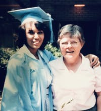 Carol Reuss with former student, Rhonda Beatty. Contributed by Beatty.