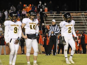 Chapel Hill High School football players at a game last season. Photo courtesy of Jack Baddour.
