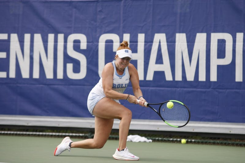 UNC women's tennis junior Sara Daavettila returns the ball during her singles match during the ACC Tennis Championships at Cary Indoor Tennis Park in Cary, NC on Sunday April 21, 2019. UNC beat Duke 4-2.