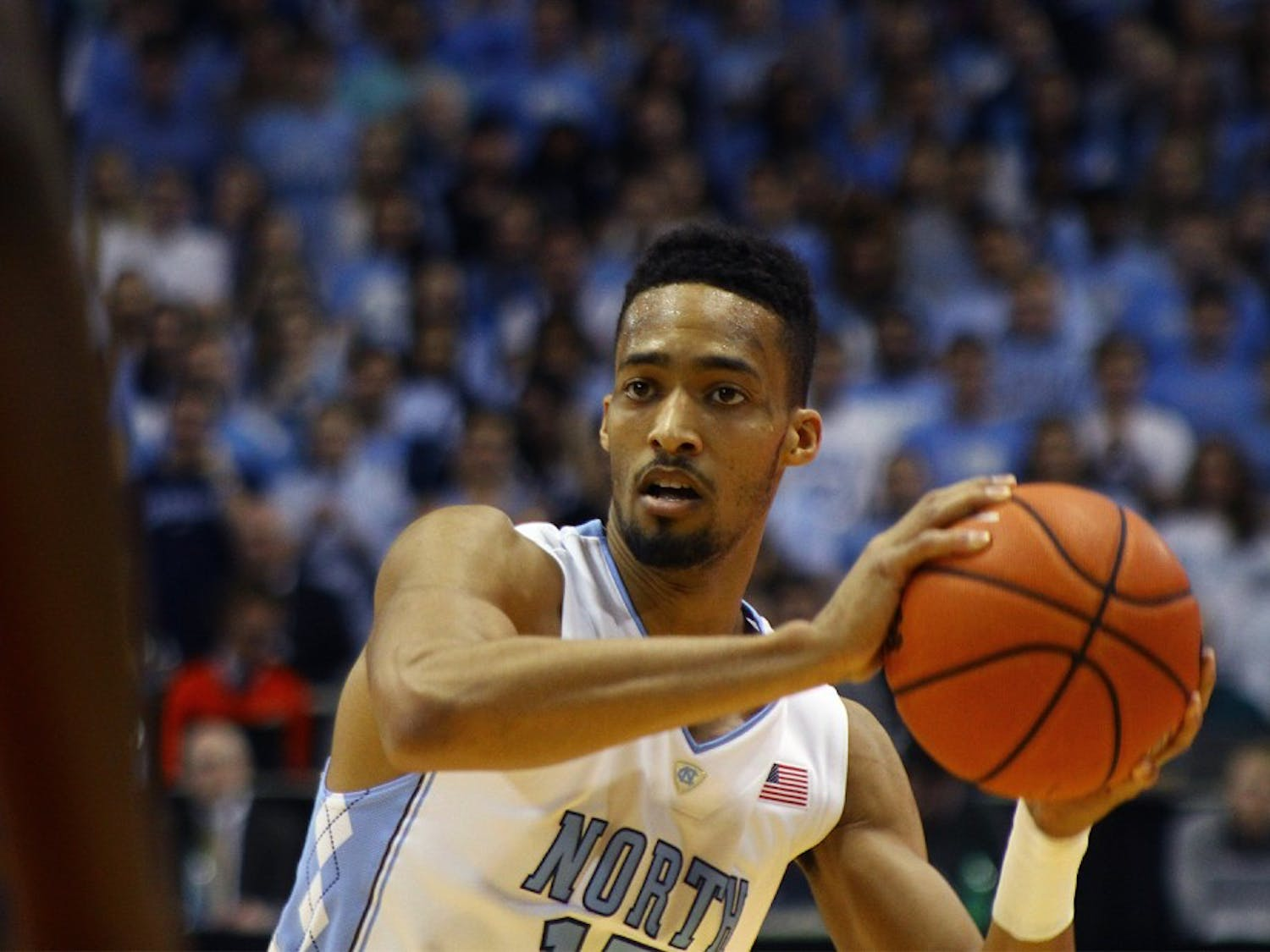 Junior forward J.P. Tokoto (13) didn't start Saturday night in UNC's 79-68 win over Boston College. Tokoto had nine points in 29 minutes.