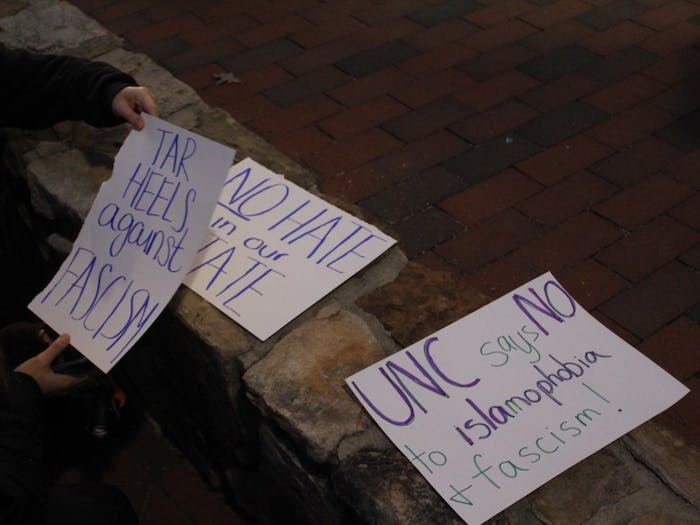 Protestors created a variety of signs and posters before the Sebastian Gorka's November speech on campus.