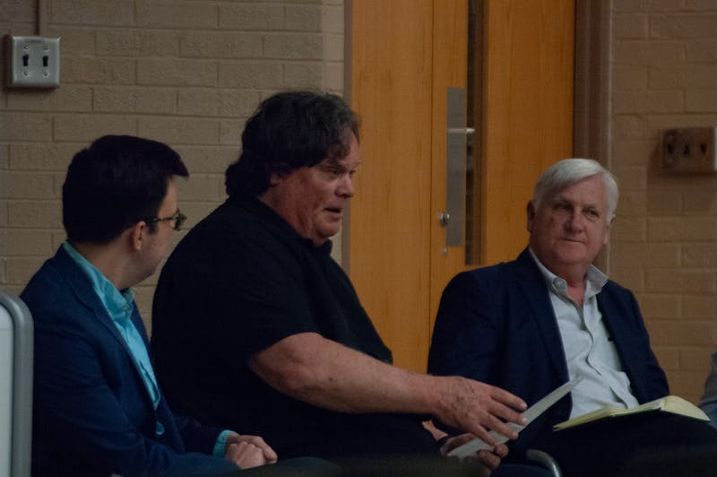 """Photographed is Tomas Lopez, Gene Nichol, and Tim Smith during the """"Rigged"""" Voter Suppression Panel on Feb.27, 2020. These panel members discussed various topics ranging from voter suppression in North Carolina and educating the audience on how to access information regarding the current election."""