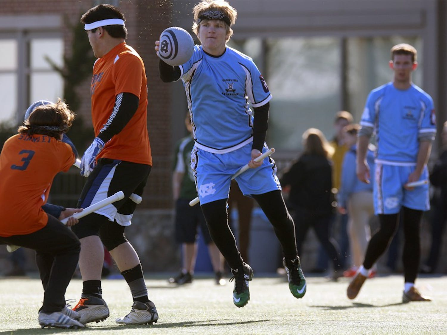 UNC's Quidditch team played UVA as they hosted a tournament Saturday afternoon on Hooker fields.