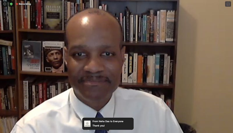 A screenshot of Professor Claude Clegg of the Departments of History and African, African American, and Diaspora Studies, speaking during an online seminar about the context of race and policing in the United States on Monday, June 22, 2020.