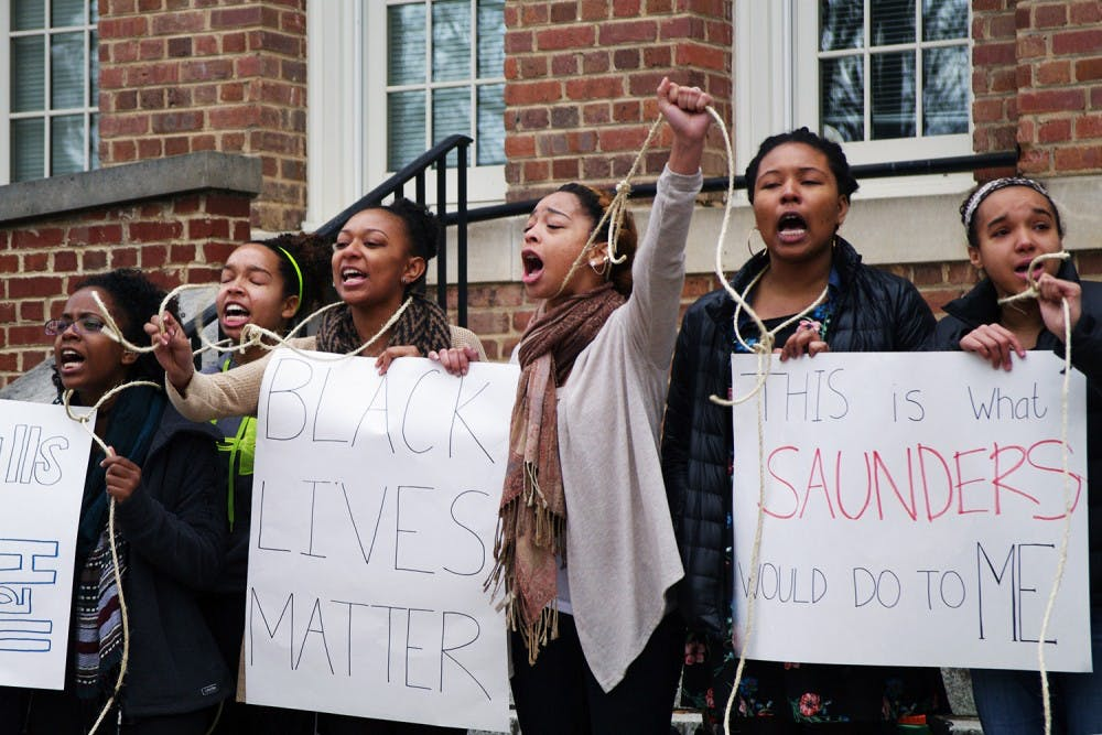 Students protested history of aggression outside Saunders Hall