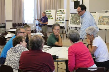 Community members participate in a input session about the future development of Martin Luther King Jr. Park at the Carrboro Century Center on Saturday morning.