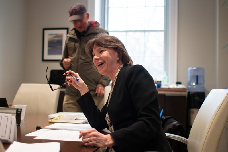 """Joy Renner, chair of the Chancellor's Advisory Committee, fields an interview question after a meeting in South Building on Wednesday, March 20, 2019. The meeting concerned revisions to the committee's charge of responsibilities and went into closed session to discuss """"personnel action."""""""