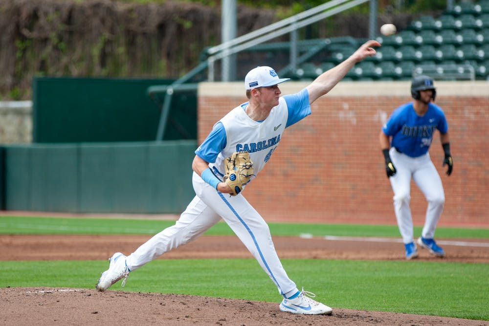 Sophomore left-handed pitcher Will Sandy (41) pitches the ball at the game against Duke on Saturday Apr. 10 2021 at Boshamer Stadium. UNC lost 2-4.