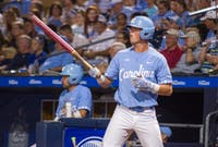 Carolina junior Jackson Hesterlee (26) prepares to bat during UNC's ACC tournament loss to Pittsburgh on May 23.