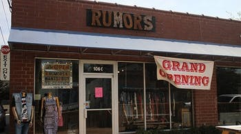 The outside of Rumors Chapel Hill thrift boutique. Courtesy of Elizabeth Mendoza and Brennan Cumalander.