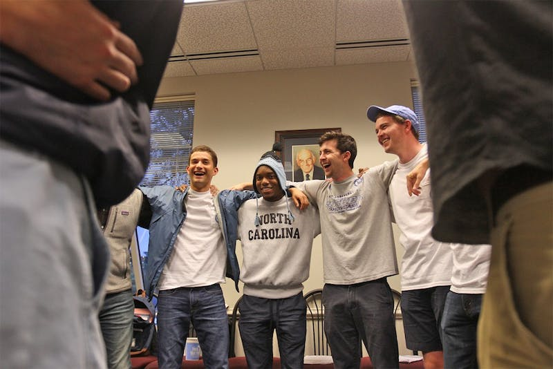 Carter Gregory, second from left, attended the University of South Carolina for one year before transferring to UNC and joining the Clef Hangers.