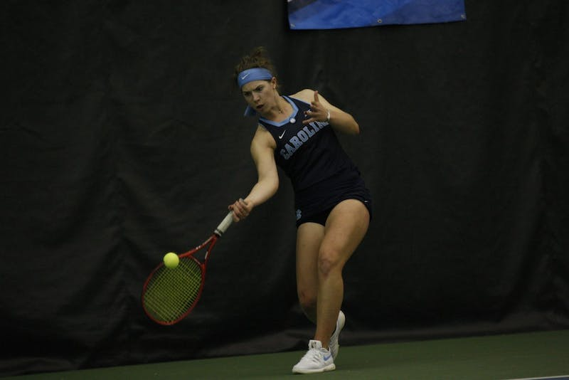 UNC women's tennis senior Jessie Aney returns the ball during a singles match against Duke on Wednesday, March 6, 2019. UNC won the match 4-1.