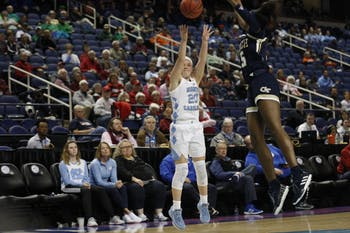 Sophomore guard Leah Church (20) takes a shot during UNC's first game in the ACC tournament against Georgia Tech in Greensboro, N.C. on Thursday, March 7, 2019. UNC defeated the Yellow Jackets 80-73 to move on to the next round of the tournament.