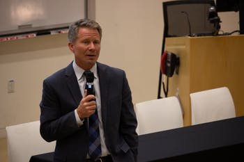 Interim Chancellor Kevin Guskiewicz gave updates about the University at the meeting of the Faculty Council and the General Faculty in Genome Sciences Building on March 8, 2019.  He discussed the naming of the Adams School of Dentistry, campaign events, the General Education Curriculum and diversity.